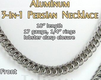 """Reversible 18"""" Persian 3-in-1 Necklace with saw-cut rings and lobster clasp closure"""
