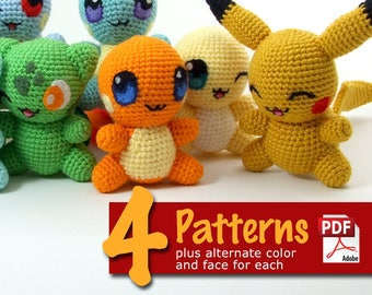 Crochet Chibis: Set 1 Pattern Book - Pokemon inspired animals like Charmander, Squirtle, Bulbasaur, Pikachu