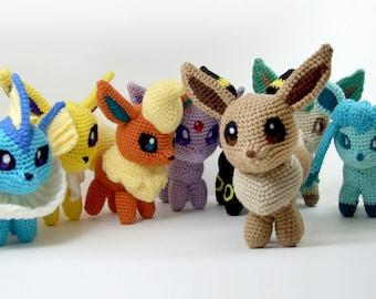 Pokemon Chibi Plushes: Eevee, Vaporeon, Jolteon, Flareon, Espeon, Umbreon, Leafeon, Glaceon, Sylveon
