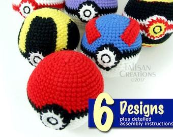 Crochet Creations: Juggle Balls Set 1 Pattern Book - Pokeball inspired designs