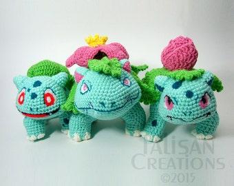 Pokemon Crochet Plushes: Bulbasaur Ivysaur Venusaur with Shiny