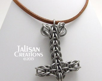 Thor's Hammer Mjolnir Chainmaille Pendant with saw-cut rings