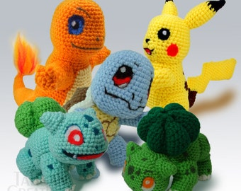 Pokemon Crochet Plushes: Pikachu Charmander Squirtle Bulbasaur