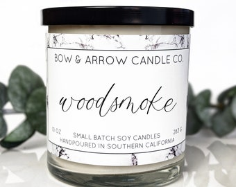 Soy Candle Woodsmoke Scented | 10 oz Candle Jar | Campfire Soy Candle | Soy Wax Candle | Gifts for Him | Eco Friendly Gift | Gifts Under 20