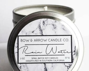 2 oz Natural Soy Candle Rain Water Scented | 2 oz Tin Candle | Rain Water Candle | Floral Soy Candle | Scented Soy Candle