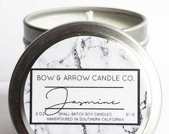 2 oz Natural Soy Candle Jasmine Scented   2 oz Tin Candle   Jasmine Scented Candle   Jasmine Blossom   Floral Scented Candle   Gift Idea