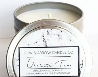 4 oz Natural Soy Candle White Tea Scented | 4 oz Tin Candle | Tea Soy Candle | White Tea | Scented Soy Candle | Soy Candles