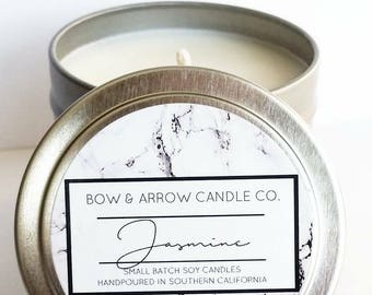 4 oz Natural Soy Candle Jasmine Scented | 4 oz Tin Candle | Jasmine Scented Candle | Jasmine Blossom | Floral Scented Candle | Gift Idea