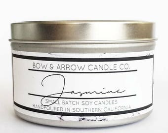 8 oz Natural Soy Candle Jasmine Scented | 8 oz Tin Candle | Jasmine Soy Candle | Jasmine Candle | Scented Soy Candle | Soy Candles | Floral