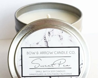 4 oz Natural Soy Candle Sweet Pea Scented | 4 oz Tin Candle | Sweet Pea Scented | Sweet Pea Candle | Floral Candle | Scented Soy Candle