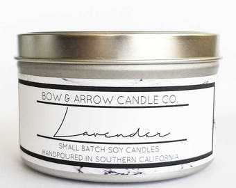 8 oz Natural Soy Candle Lavender Scented | 8 oz Tin Candle | Lavender Soy Candle | Lavender Candle | Scented Soy Candle | Soy Candles |