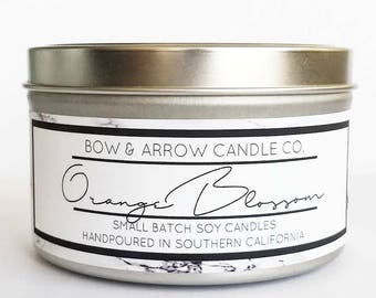 8 oz Natural Soy Candle Orange Blossom Scented | 8 oz Tin Candle | Fruity Soy Candle | Floral Soy Candle| Scented Soy Candle | Soy Candles
