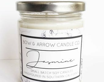 Natural Soy Candle Jasmine Scented   7 oz Jar Candle   Jasmine Candle   Floral Scented   Scented Soy Candle   Gift Idea