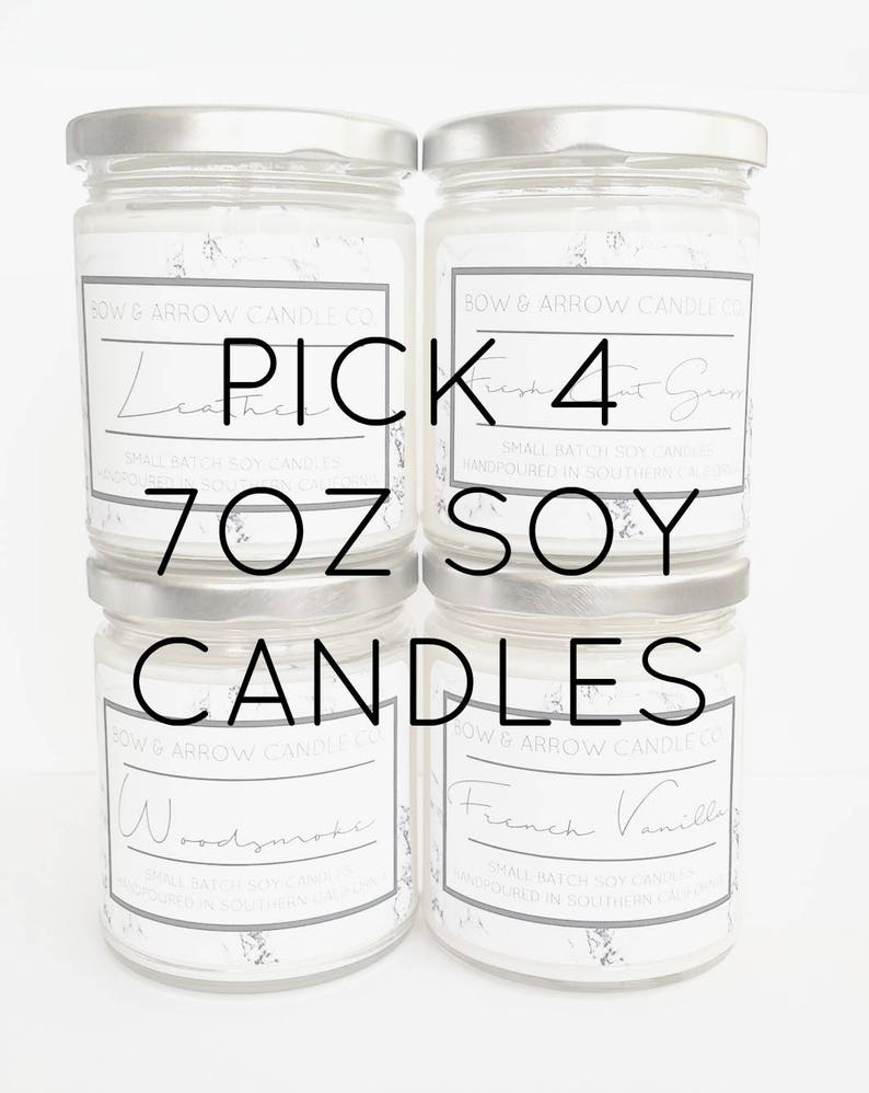 Wedding Favors Soy Candles Soy Candle Jars Bulk Soy Candles Pick Four 7 oz Candle Gift Set Gift Idea Scented Soy Candles