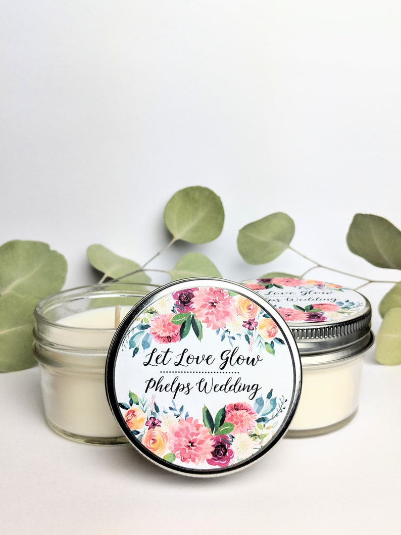 Bridal Shower Gift Customized Party Favors Soy Candle Favors Gift Idea Floral Wedding Favors Set of 50 Mason Jar Wedding Favors