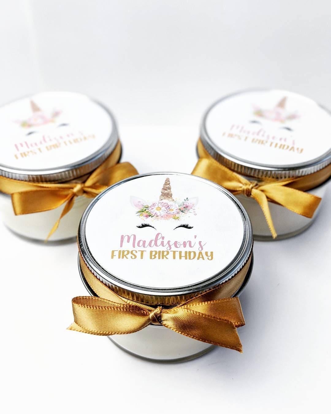 25 Birthday Favor Candles Mason Jar Favors Unicorn
