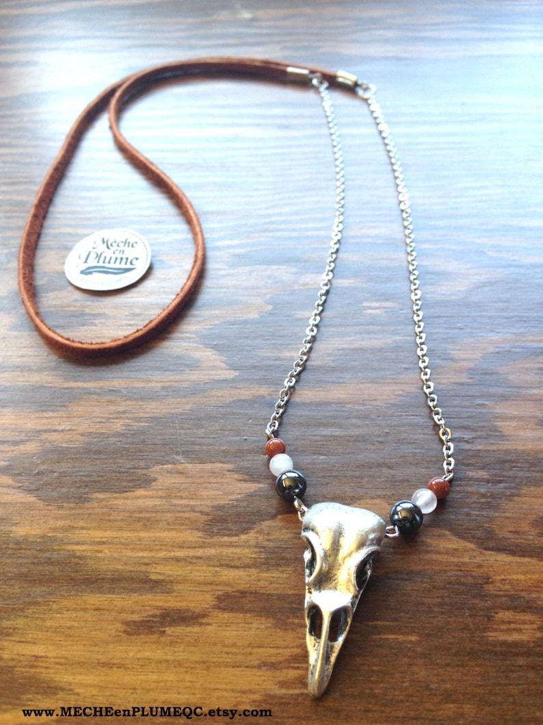 Bird Skull Necklace Antique Silver Goldstone Quartz Hematite Tan Leather Stainless chain
