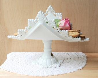 Westmoreland Milk Glass Ring and Petal Pedestal Banana Boat