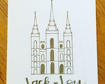 Salt Lake Temple Drawing - gold ink