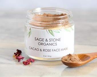 Cacao & Rose Organic Face Mask | Rose Face Mask | Chocolate Face Mask | Vegan Face Mask | Antioxidant Face Mask | Rose Hip Face Mask, Cacao