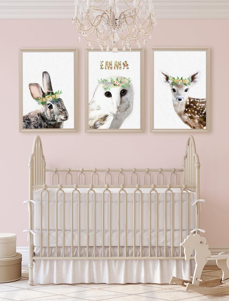 5043997a7f7ca Boho Nursery Decor Baby Name Sign Set of 3 Prints, Baby Girl Nursery  Woodland Nursery Art Nursery Name Sign, Bunny, Owl, Deer Wall Set