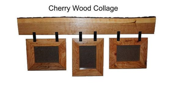 Three Frame Collage, Cherry Wood Collage, Picture Frame, Rustic ...