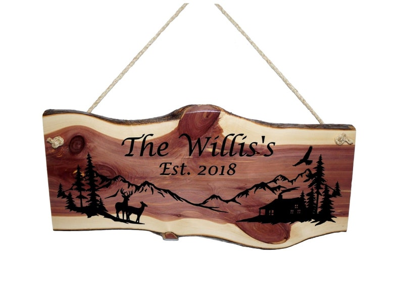 Rustic Deer Sign Welcome Sign Rustic Gift Rustic Home Decor Rustic Sign Engraved Sign Mother/'s Day Gift Family Name Cabin Sign