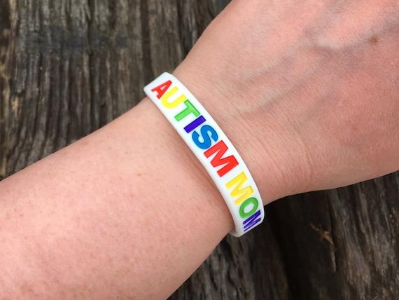 Autism Mom Wristband Silicone Band White Ladies Womens ASD Autistic Spectrum Mum