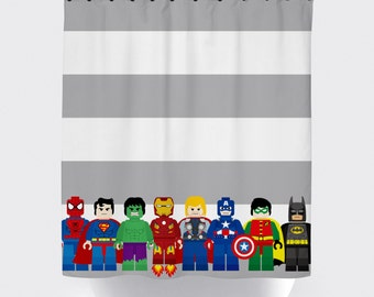 Mini Block Super Hero Shower Curtains Superhero Curtain Fabric Bathroom