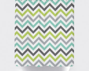 Chevron Shower Curtain Modern Fabric Lime Green Teal Gray