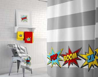 Beau Super Hero Shower Curtain, Rug, Towels U0026 Prints / Superhero Bathroom Decor  / Shower Curtain / Bath Mat / Wall Art Prints / SuperHero Bath