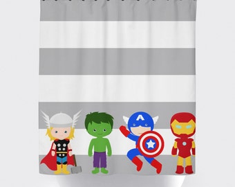 Superhero Shower Curtain Super Hero Avengers Boy Home Decor Stripe Bathroom