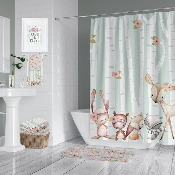 Woodland Critter Green Pink Shower Curtain Rug Towels Etsy