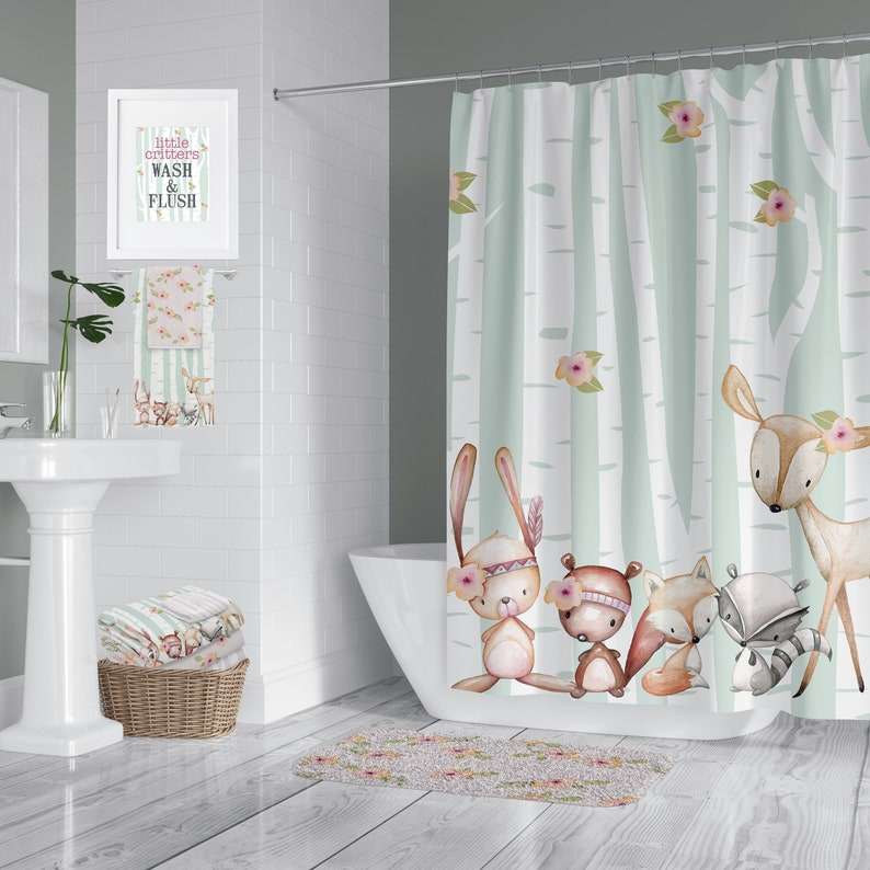 Woodland Critter Green Pink Shower Curtain Rug Towels