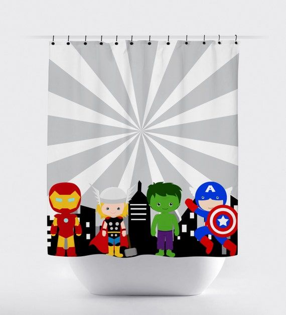 Superhero Shower Curtain Super Hero Avengers