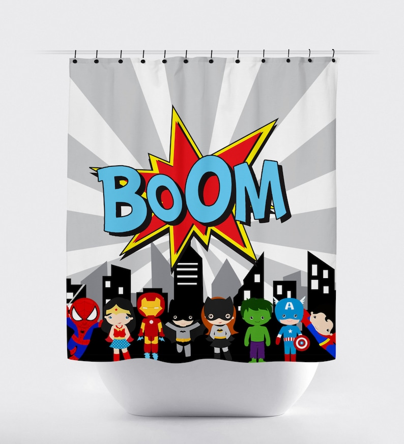 Superhero Shower Curtain Boom Comic Super Hero