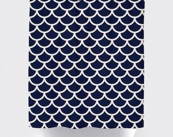 Blue and white fabric shower curtain, high quality shower curtain, shower curtain, geometric, bathroom decor, home decor, modern