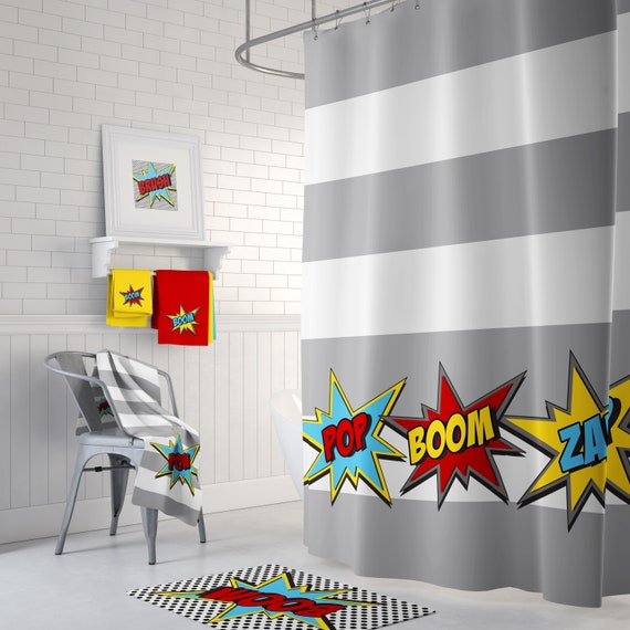 Super Hero Shower Curtain Rug Towels Prints Superhero