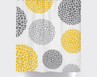 Yellow and grey flower fabric shower curtain, high quality shower curtain, shower curtain, bathroom decor, home decor, yellow, grey