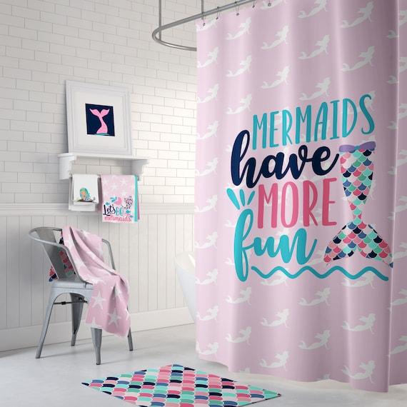 Cute Mermaid Shower Curtain Rug Towels Prints Kid