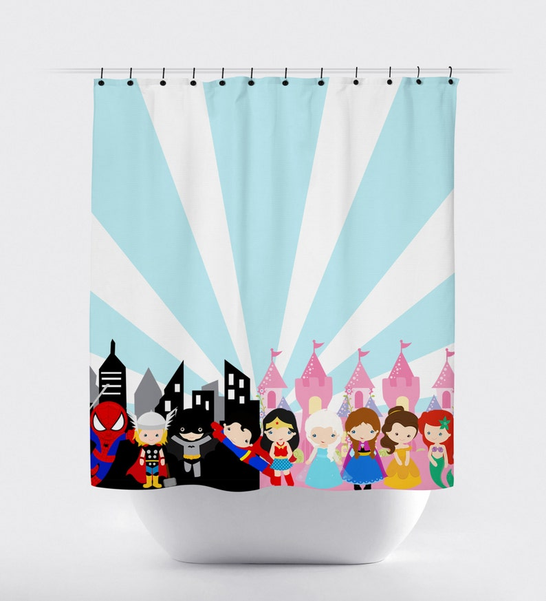 Superhero Princess Shower Curtain Blue And Pink