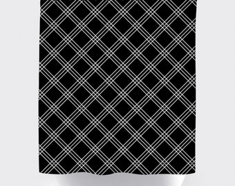 Black and grey plaid fabric shower curtain, high quality shower curtain, shower curtain, plaid, bathroom decor, home decor, black and grey
