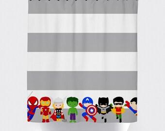 Superhero shower curtains, superhero shower curtain,  fabric shower curtain, superhero bathroom, batman, spiderman