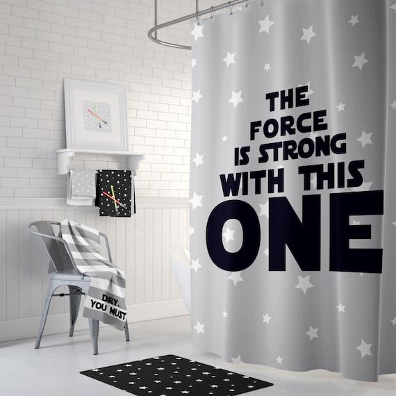 Kids Jedi Shower Curtain Rug Towels Print