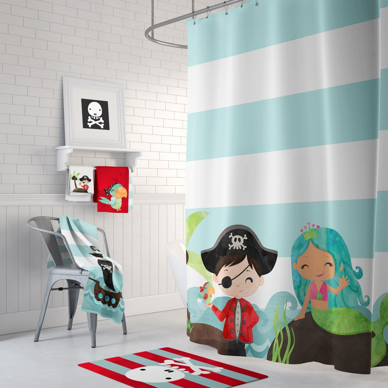 Pirate And Mermaid Shower Curtain Rug Towels Prints Kid Etsy