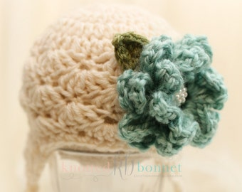 Ivory Baby Girl Ear Warmers Hat with Flower