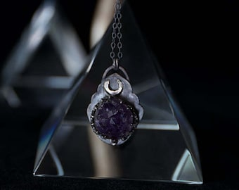 Amethyst Crystal and Crescent Moon Necklace in Dark Sterling Silver // AMETHYSTOS // hand-forged clasp, dark patina