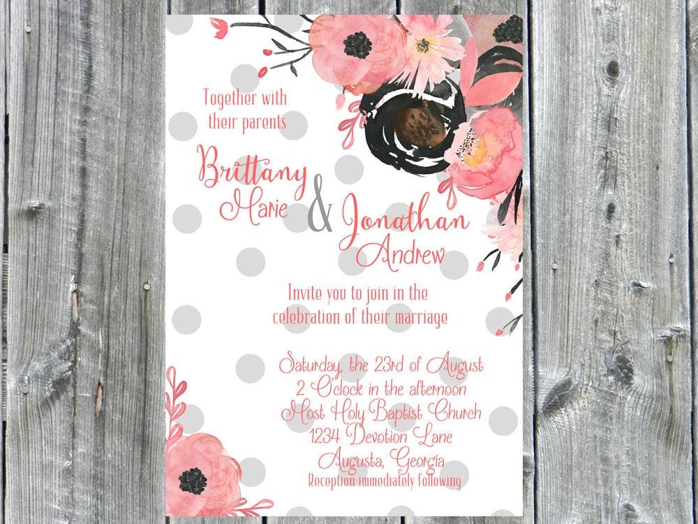casual wedding invitation printable floral invitation etsy