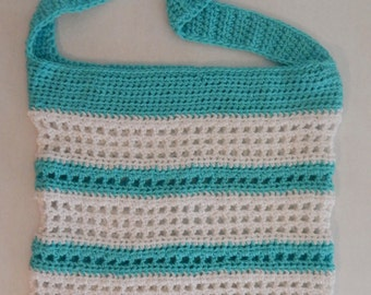 SALE Ice Blue and White Striped Crochet Beach Bag
