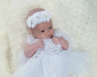 ea2b6a67b7e Baptism Dress-Christening dress- Newborn white dress- Newborn Girl Dress-  White lace dress